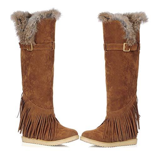 MIOKE Women's Winter Knee High Tall Snow Boots Fashion Buckle Fringe Waterproof Warm Fur Wide Calf Snow Boot
