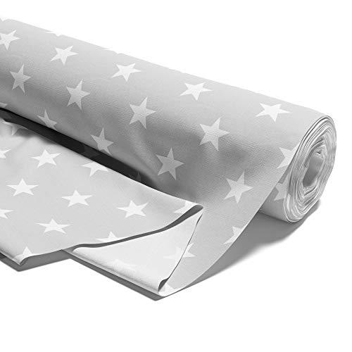 Amazinggirl Tela algodón con Estrellas, por Metros, Tejido de algodón 100%, Tejido para Coser, Tejido algodón único, Certificado Öko-Tex Standard 100 (Estrellas Blancas sobre Gris, 100 cm)