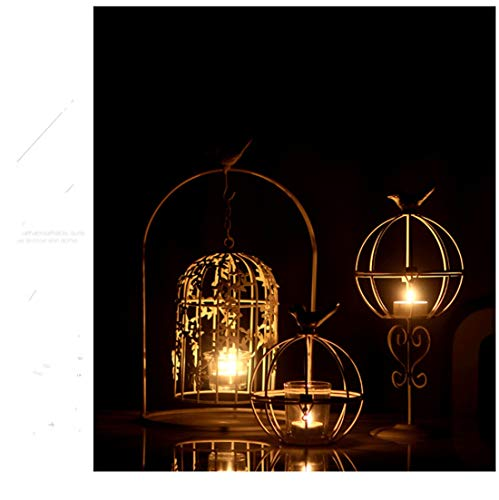 RedAlphabet European bird wrought iron bird cage carved retro candle holder home restaurant wedding pre-function area crafts ornaments (Size : S)