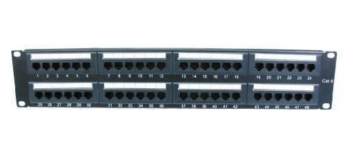 World of Data - 48 puerto 2u rack montable cat6 patch panel - soporte t568 a & b...
