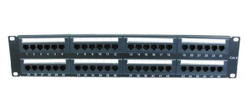 World of Data - 48 puerto 2u rack montable cat6 patch panel - soporte t568 a & b cableado e instalación fácil - dual idc conectador puede aceptar 22-26 awg sólidos y trenzados utp cables - compatible con 110 o herramientas de krone - puede montarse en racks de 19