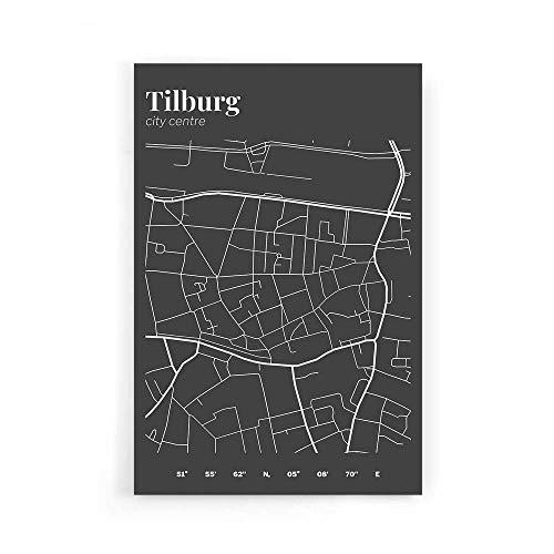 Stadskaart Tilburg Centrum III - Walljar - Muurdecoratie - Schilderij - Plexiglas
