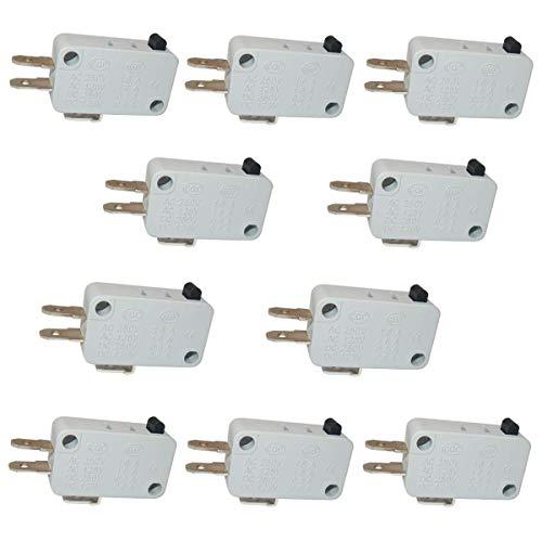 Taiss 10 interruptores universales para puerta de microondas y congelador, serie AC/DC 125 V 250 V de acción a presión para Arduino V-15-1C25
