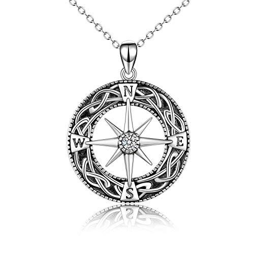 VENACOLY Collar de brújula con colgante de ancla de plata de ley, regalo de joyería celta para mujeres y hombres, Metal, Cubic Zirconia,