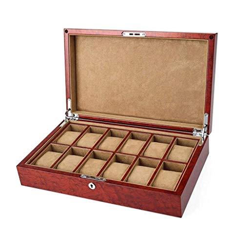 ROSG Caja de Madera para Hombre con Ranuras para Caja de Almacenamiento de Organizador de Joyas con Tapa Real