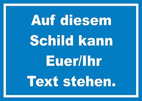 Schild mit Wunschtext waagerecht Text Weiss Hintergrund blau A5 (148x210mm)