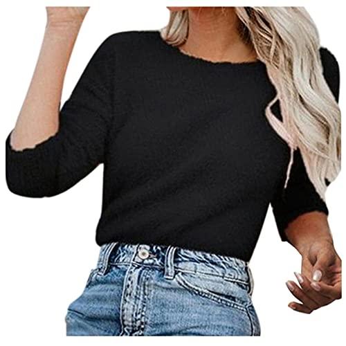Briskorry Elegante jersey de lana de cuello redondo para mujer, monocolor, jersey envolvente, cómodo para el tiempo libre, corte ajustado, elástico, suéter de manga larga, Negro-7., S