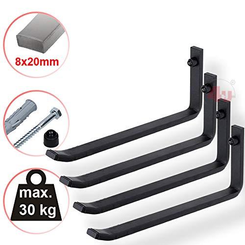 4U® 4 x XXL Reifenhalter 25,5cm, 30kg (8x20mm) Reifenwandhalter Wandhalterung Reifen Felgen Felgenbaum Halter