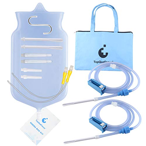 TopQuaFocus 2 Quart Enema Bag Kit, 2 Set 6.5ft Replace Enema Tubes with Pulley Valve Anal Douche for Colon Cleansing Non-Toxic Enema Nozzles