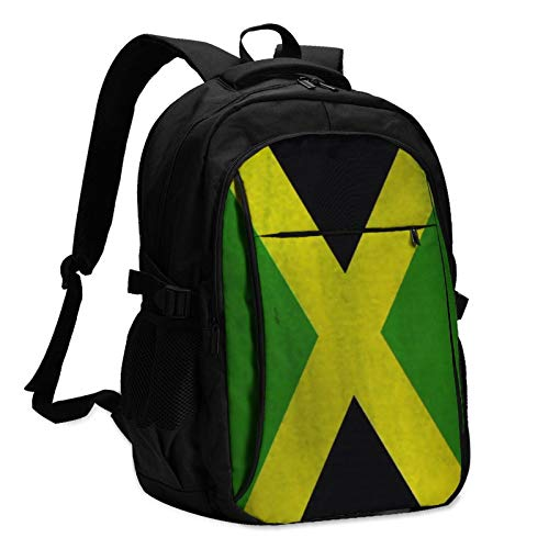 Jamaica Flag (1) Travel Laptop Backpack with USB Charging Port for Women & Men Casual Hiking Daypack Business College School Computer Bag Fits 14/15.6 Inch Laptop