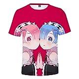 La Camiseta Suelta de los Hombres de la Moda Anime Re: Vida en un Mundo Diferente de Cero REM Manga Corta Unisex tee Summer Casual Shirts Tops-1_XXXXL