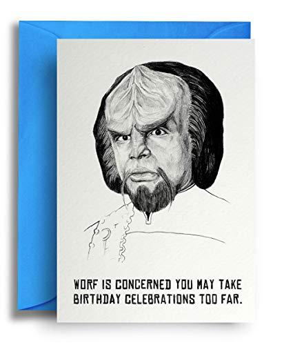 Moderne, lustige und stilvolle Grußkarte, innen blanko, für jeden Anlass, Star Trek Klingon Worf Design