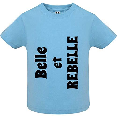 LookMyKase T-Shirt - Belle et Rebelle - Bébé Garçon - Bleu - 6mois