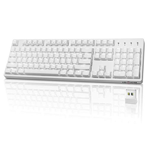 Wireless Mechanical Keyboard, Velocifire VM02WS 104-key Full Size Ergonomic with Red Switches White Backlit & High Battery Lasting for Copywriters, Typists, Programmer(White)