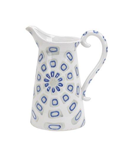 Sagebrook Home 12200-02 Decorative Ceramic Handled Pitcher, White/Blue Ceramic, 9 x 6 x 11 Inches