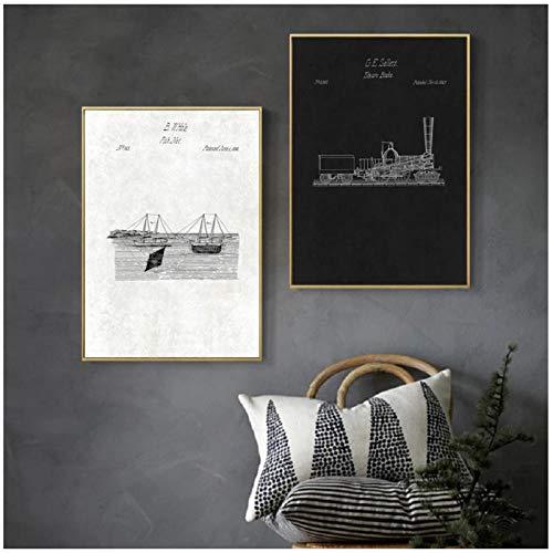 FUXUERUI Vintage ångbroms fisknät teknologi kanvas väggkonst tryck affisch och bilder hängande målning för vardagsrum dekor 40 x 50 cm x 2 utan ram