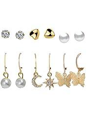 Jewels Galaxy Gold Plated Set of 6 Studs & Hoop Earrings