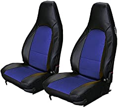 Iggee Black/Blue Artificial Leather Custom Made Original fit Front seat Covers Designed for Porsche 911 928 944 968 1985-1998