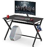 Tribesigns Gaming Desk PC Computer Gaming Desk, scrivania da Ufficio a Forma di X con portabicchieri e Gancio per Cuffie