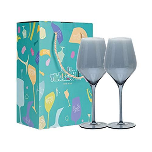 Copas de vino 2 Cristal Sin Plomo Juego Proporción Hermosa Copa De Vino De 640 Ml, Embalaje De Caja De Regalo, Adecuado para Regalos (Color : Gray, Size : 9.9 * 26cm*2)