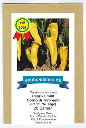 Gelbes, süßes Paprika in Form eines Stierhorns - Corno di Toro gelb - 20 Samen