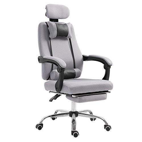 Silla de oficina con reposapiés gris, 62 x 68 x 127 cm, ergonómica, silla de oficina
