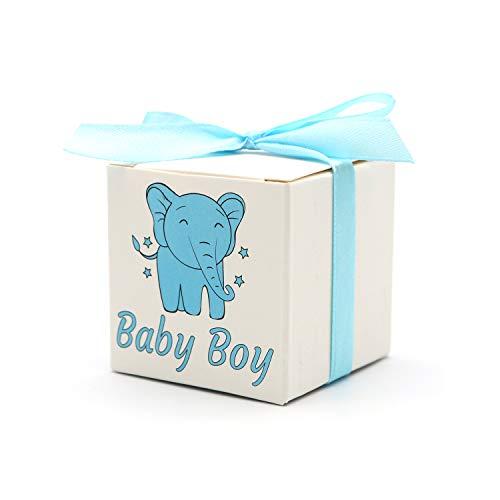"""ChicResult """"Baby Boy"""" Box - 25x Geschenkbox + 25x Geschenkband, ideal als stilvolles Gastgeschenk zur Taufe, Babyparty, Baby Shower und Kindergeburtstag eines Jungen (blau)"""