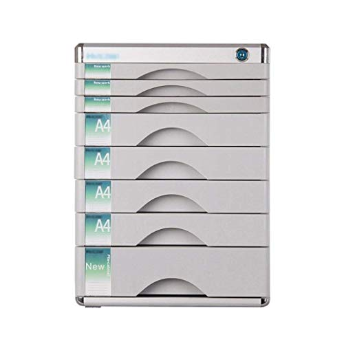 HYY-YY Drawer Sorter,with Lock And 8 Drawers Multi-function Cabinet Desktop Storage Cabinet Color: Silver (12in*14.4in*16.2in)