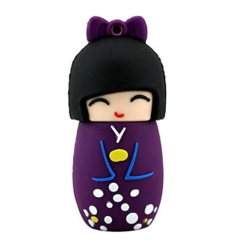 32 GB Linda Muñeca Japonesa Púrpura USB de Dibujos Animados Pulgar Memoria Flash Drive Pen Pen Regalo de la Novedad