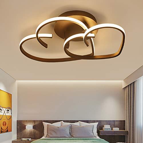 LED Modern Deckenleuchte Liebe Herz Förmiges Design Kronleuchter Warme Romantische Deckenlampe Einfache Acryl Deckenlicht Esszimmer Schlafzimmer Küchen Flur Lampen,Braun,3000k/55cm(32W)