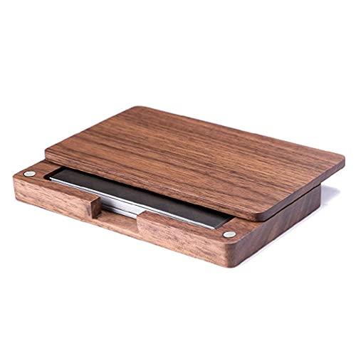 EATAN Moda creativa oficina escritorio de madera sólida caja de tarjeta de visita de madera Exposición de negocios magnética caja de tarjeta de visita de madera