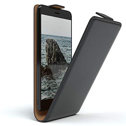 EAZY CASE Hülle kompatibel mit Huawei Y7, Y7 Prime (2017) Flip Cover zum Aufklappen, Handyhülle aufklappbar, Schutzhülle, Flipcover, Flipcase, Flipstyle Hülle vertikal klappbar, Kunstleder, Schwarz