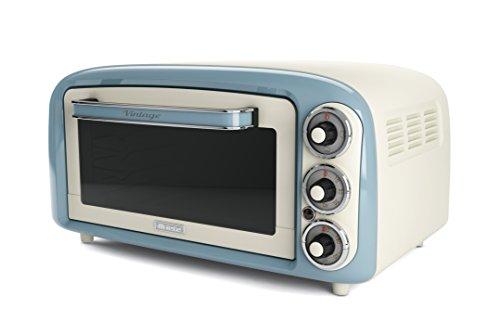 Ariete 979, Design-Elektro-Ofen, 18 Liter, geeignet für 30 cm große Pizza, 1380 W, 3 Backpositionen, 60-Minuten-Timer, Edelstahl, Pastellblau