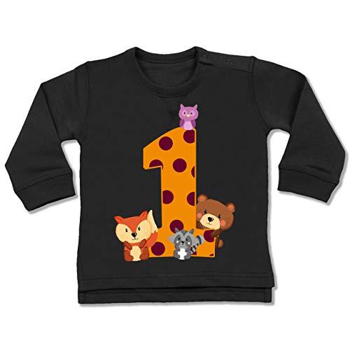 Geburtstag Baby - 1. Geburtstag Waldtiere - 12/18 Monate - Schwarz - 1. Geburtstag Waldtiere Shirt - BZ31 - Baby Pullover