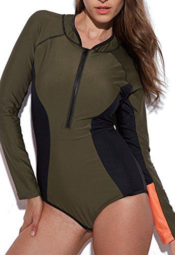 FITTOO Vêtement Surf Femme Maillot de Bain 1 Pièces Tankini Manches Longues de Vacances Mer Plage, Vert, S
