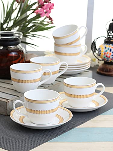 Clay Craft - Cream Tea Cup Saucer Set, 6-Pieces, 210ml, Super S377