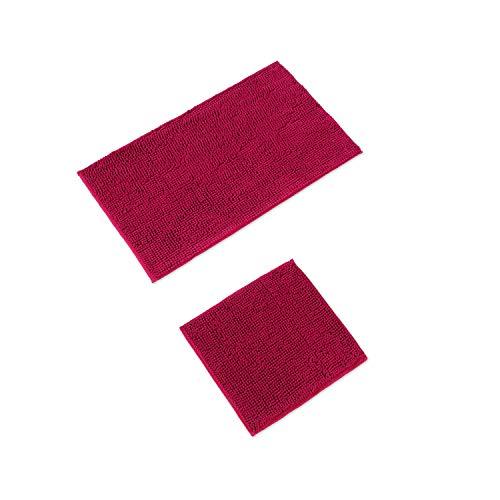 WohnDirect Badematten Set • WC Vorleger (45x45cm), Badematte (50x80cm) • rutschfest waschbar Badezimmerteppich OHNE WC-Ausschnitt - Pink
