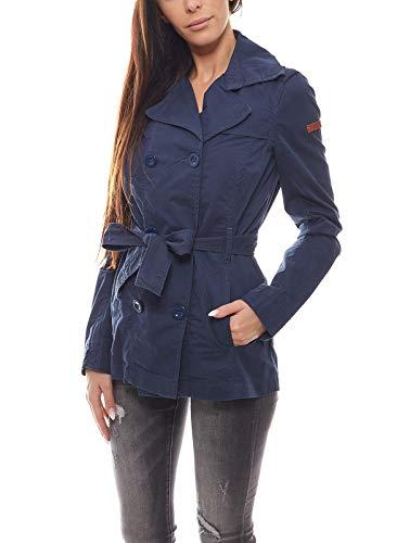 Q/S designed by s.Oliver Trenchcoat Klassische Damen Jacke in Kurzform Gehschlitz ausgewaschen Blau, Größe:S