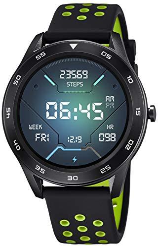 LOTUS Reloj Modelo 50013/1 de la colección SMARTWATCH, Caja de 47,9 mm Digital con Correa de Caucho Negro Verde para Caballero