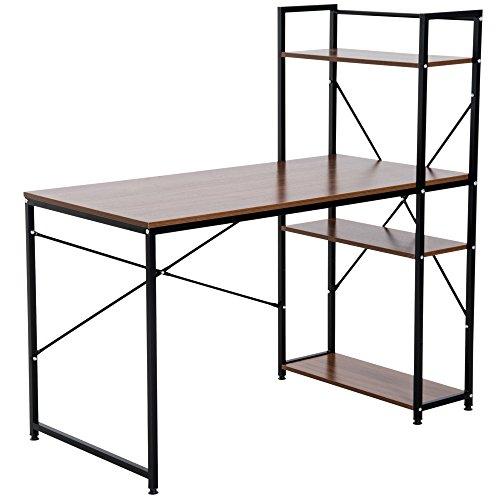 HOMCOM Computer Desk PC Table Study Workstation Home Office with 4-tier Bookshelf Storage Metal Frame Wooden Top (Walnut & Black)