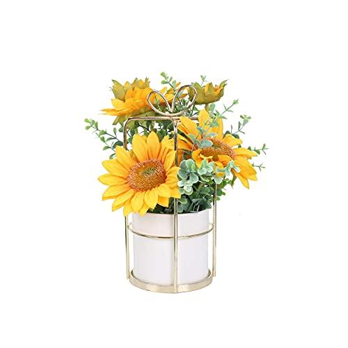 YiShuHua Living room flower set, artificial flowers with pot silk flowers artificial sunflowers artificial flowers silk flowers deco for table room balcony wedding decoration (Color : Yellow)