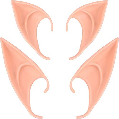 BBTO 2 Pairs Halloween Latex Elf Ears Cosplay Masks Fairy Goblin Ears, Light Color