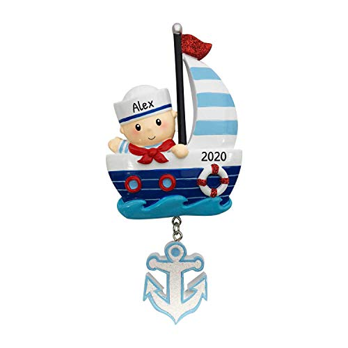 Personalized Sailor Baby Boy Christmas Tree Ornament 2019 - Nautical Navy Hat Boat Anchor Toddler God New Mom Shower Holiday Grand-Son Tradition Nursery Theme Birthday Party - Free Customization