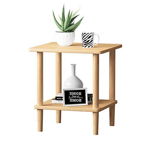 Table d'appoint Table basse double en bois massif petit salon casier simple mini rack de stockage multifonction petite table (Color : Wood color)