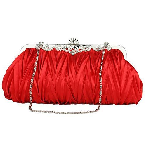 Liapianyun Damen Elegant Abend Handtaschen,Einfach Abendessen Tasche Unterarmtasche Falten Handtasche Frauen Clutch Mode Abendtasche,Rot