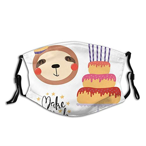 Comfortable Printed mask,Birthday Party Donuts Cake Candles Make A Wish Cute Sloth Celebration,WindproofFacialdecorationsformanandwoman