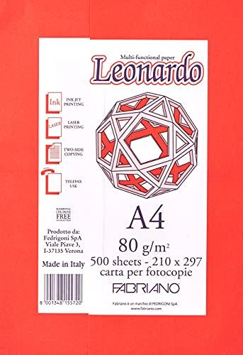 Viscio Trading- FABRIANO Risma Fotocopie Leonardo A4 80 Gr. (500 Fogli) Carta da, Multicolore, 8001348155720