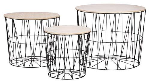 Moderna mesa auxiliar de metal con tapa de madera – Mesa decorativa con cesta con espacio de almacenamiento negro – Tablero de mesa claro – Mesa de salón (50 x 40 cm)