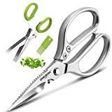 ONEBOM Kitchen Shears 2 Pack,Multi Function Kitchen Scissors Heavy Duty 304 Stainless Steel,for Chicken,Meat,Fish