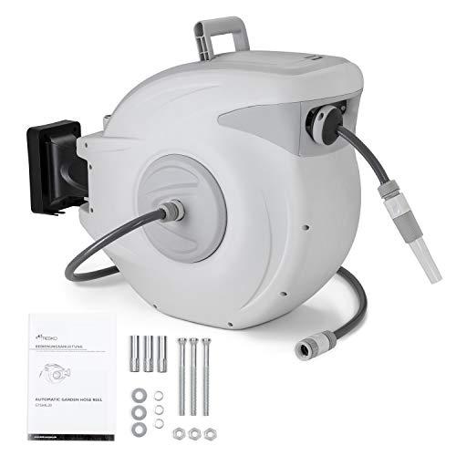 TRESKO® Schlauchtrommel 30+2m Schlauchaufroller Wasser | mit Handbrause | 180° Schwenkbar | Gartenschlauch-Schlauchabroller | Automatik | inkl. Wandhalterung und Montagematerial